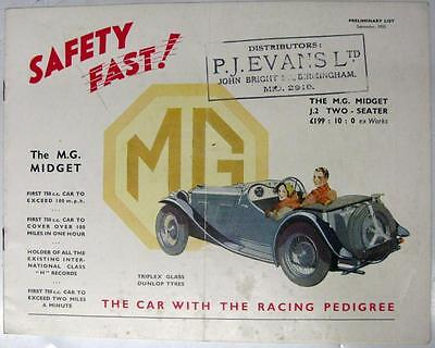 MG Midget Original Car Sales Brochure Sept 1933 #21126-7/33/25m