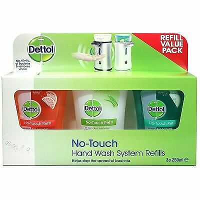 Dettol No-Touch Hand Wash 3 x 250 ml Refills Lotus Flower Grapefruit Cucumber