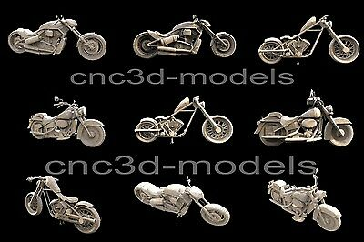 3D STL Models for CNC Router Carving Artcam Aspire Collection Motorcycles 280