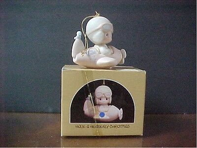 Precious Moments ORNAMENT Boy in Airplane 'Have a Heavenly Christmas'  MIB