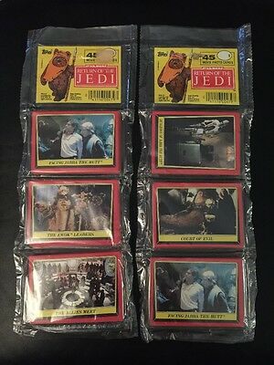 Star Wars- IV-Return of The Jedi 1983 -Wax Rack Packs of Cards (2)-Series 1 Red