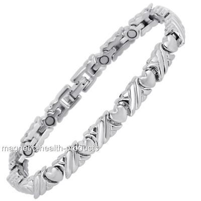 Ladies Magnetic Healing Bracelet Silver Hearts Bangle Arthritis Pain Relief 178