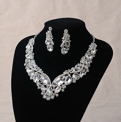 Luxury Twinkling Drip Rectangle Square Crystal Wedding Necklace Earrings Set