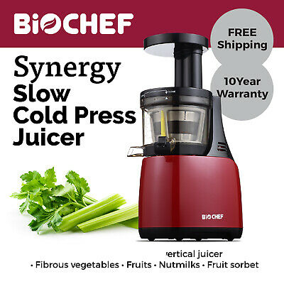 BioChef Synergy Slow Juicer / Cold Press Juicer / Juice Extractor Red