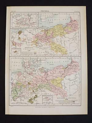 OLD VINTAGE MAP of KINGDOM OF PRUSSIA 1786 & 1866 - ANTIQUE COLOUR PRINT c1910