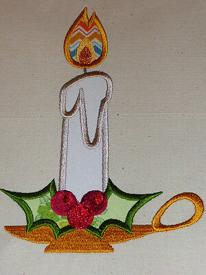 Christmas Candle Applique ~ Embroidered Quilt Block/Panel