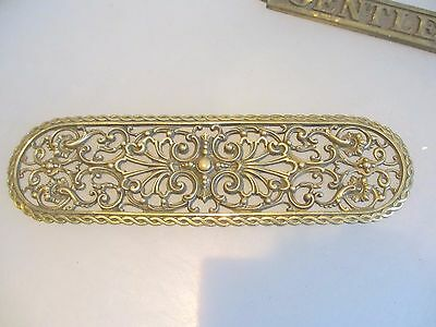 Victorian Brass Finger Plate Push Door Handle Architectural Antique Gilt Scroll