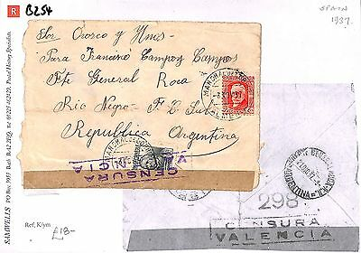 B254 1937 Spain  Argentina 'Republica Argentina' {Samwells-Covers} PTS
