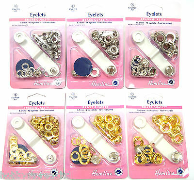 Eyelets Starter Kit Metal Eyelets Silver Gold with Grommet Tool Brass Metal New