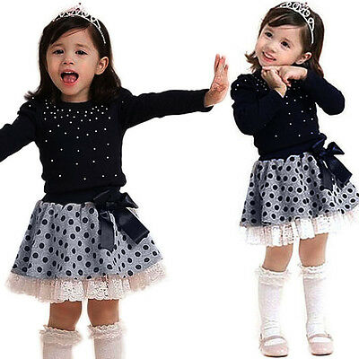 Kids Baby Girl Long Sleeve T-Shirt Tops+Tutu Skirt Dress Princess Clothes Outfit