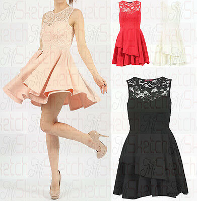 New Ladies Sleeveless Lace Double Frill Skater Dress