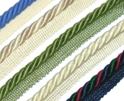 ASSORTED COLOURS ART TC138 X2 METRES SILKY FLANGED BINDING//PIPING 8MM CORD