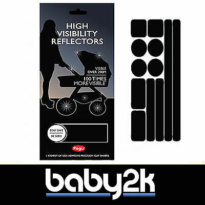 Pogu High Visibility Pram Pushchair Reflective Stickers for Safety - Black - BN