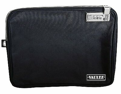 Vaultz Locking Tool Pouch with Tether, Large, 9.5 x 12 Inches, Black VZ00727