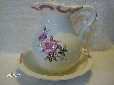 Pitcher And Basin / Bowl Set White With Pink Flowers
