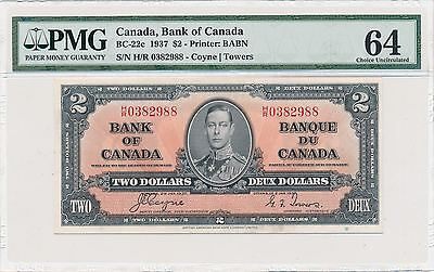 Bank of Canada $2 Dollars 1937 Coyne-Towers BC-22c PMG64 Choice Unc