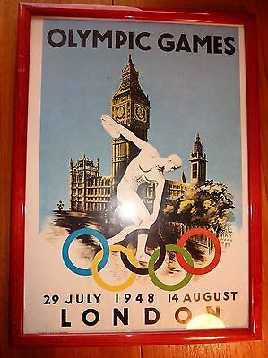1948 Olympic Games Framed Poster Iconic Image 1970's