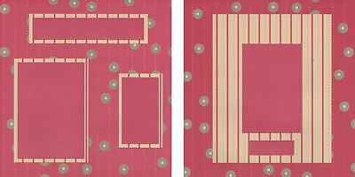 """Pre-made Layered Scrapbook Layout Double Pages 12""""x12"""" - Red Stripes & Flowers"""