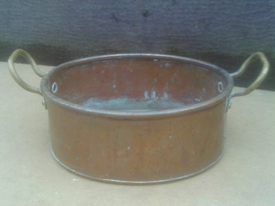 Vintage Small Oval Copper Planter with 2 Brass side Handles