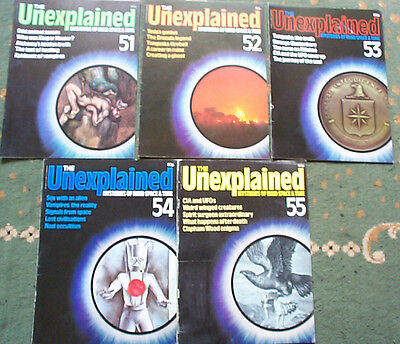 X5 THE UNEXPLAINED MAGAZINES mysteries of mind and space, ISSUES 51 - 55