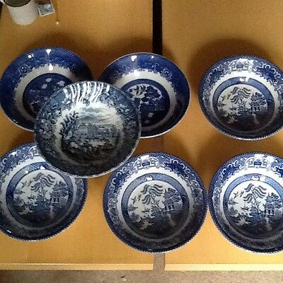 Old Willow and Woods Ware Set of 7 Cereal Bowls Vintage Blue and White