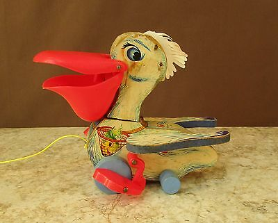 Vtg Fisher Price 1961 Big Bill Pelican Pull Toy #794 Mouth Opens Feet Pedal Work
