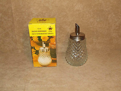 Sugar Dispenser RETRO 6oz Cut Glass- Boxed - Grace - Vintage Made In Hong Kong