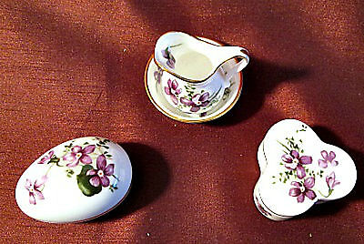 HAMMERSLEY Made in England VICTORIAN VIOLETS Pitcher & Bowl  & 2 Covered Boxes