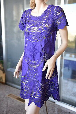 Lim's Cotton Hand Crochet & Embroidery  Mini Dress Purple M (One Size)