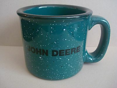 John Deere Green Speckled Stoneware Ceramic Mug Large & Heavy -Shipping Included