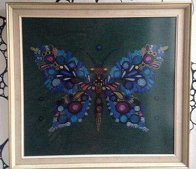 Vintage 1970s large framed embroidery crewel work psychedelic butterfly picture