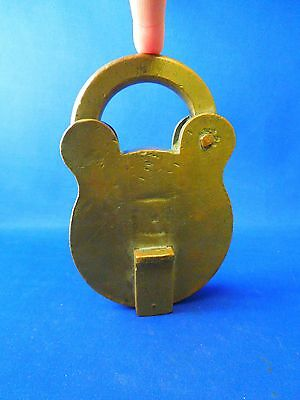 Large Antique Brass Lock Padlock With Keyhole - Stempunk Industrial Use