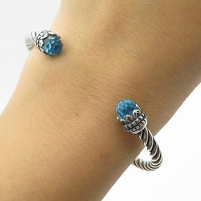 925 Sterling Silver Real Blue Topaz Gemstone Cable Cuff Bracelet 6.5""