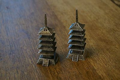 """Antique Japanese Pagonda Silver Salt & Pepper Shakers 950 Silver 3"""" One Loose"""