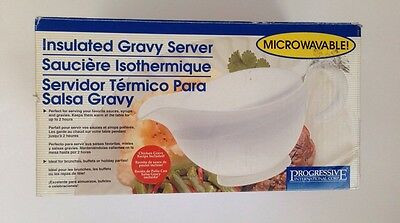 Progressive International Insulated White Gravy Boat Microwavable TS-1000 NIB