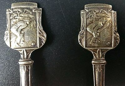 Matching Pair of Decorative EPNS Teaspoons Topped With Lawn Bowling Image.