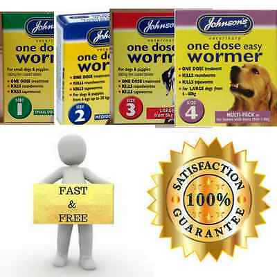 Johnsons One Dose Easy Wormer Dog Worming Tablets All Sizes 1 2 3 4 NEW Fast Del