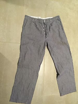baker pants,blue checks, used, french army,button fly,38x31