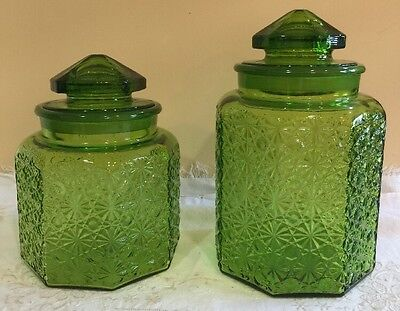 2 Large Vintage LE Smith (?) Green 8-Panel Glass Canisters Jars Pyramid Lids