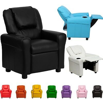 Kids Children Recliner Premium Kid PU Leather Lounge Chair Sofa W/ Drink Holder