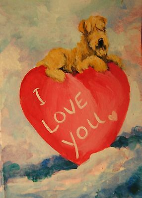 Original Painting~ACEO~Wheaten Terrier~Dog~Hand Painted~Valentine~CARD~I LOVE U
