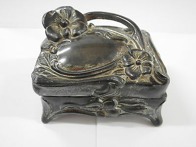 Art Nouveau Ladies Jewel Box / Trinket Box With Embossed Floral Decoration