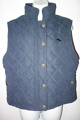 Riding Sport Equestrian Wear Quilted Vest Womens M Blue Snap dst