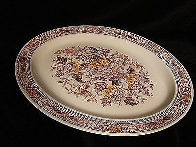 """Ridgway Canterbury Oval Platter Meat Serving Red England Vintage china Big 14"""""""