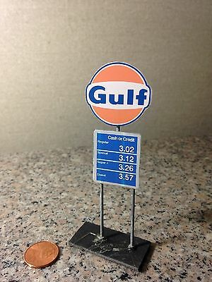 Ho scale (1/87) modern Gulf Gas station sign with prices