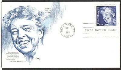 Us Fdc 1984 Eleanor Roosevelt 20C #2105 Marg Cachet First Day Of Issue Cover