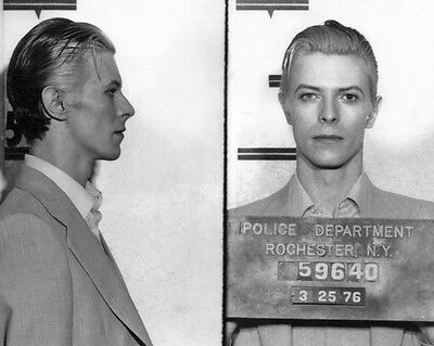 1976 Singer DAVID BOWIE Glossy Mugshot 8x10 Photo Print Rochester, NY Poster
