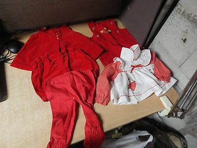 Vintage Antique Baby Child's Doll Dress Red Dress Lot And More Euc