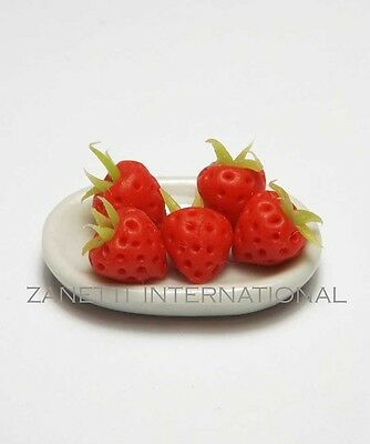 5 Dollhouse Miniature Tiny Strawberries on a Ceramic Plate* Doll Mini Food Tray