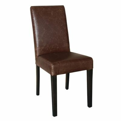 Bolero Faux Leather Dining Chairs in Antique Tan Height 510mm Pack of 2